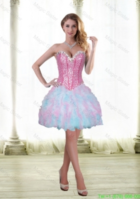 Luxurious Beading and Ruffles Short 2015 Cocktail Dress with Sweetheart