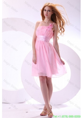 Pretty A-line Straps Pink High-low Chiffon Ruching Bridesmaide Dress