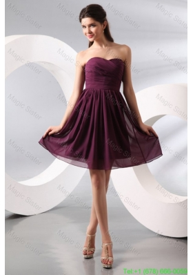 Purple Ruching Short Bridesmaide Dress with Knee-length