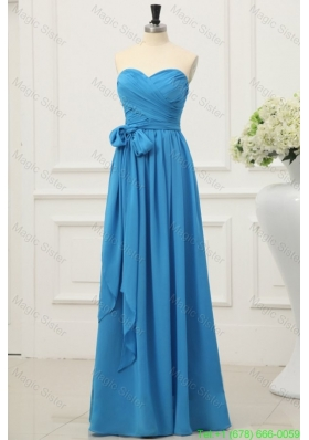 Simple Sweetheart Empire Bridesmaide Dress in Teal with Sash