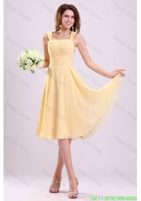 Simple Yellow Bridesmaid Dress with A-line Straps Tea-length