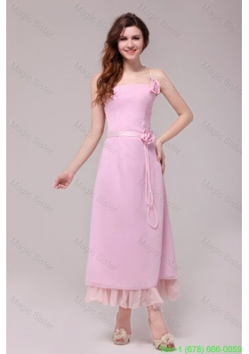Strapless Baby Pink Hand Made Flowers Tea-length Bridesmaide Dress