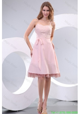 Straps Baby Pink Empire Knee-length Bridesmaide Dress with Beading and Bowknot
