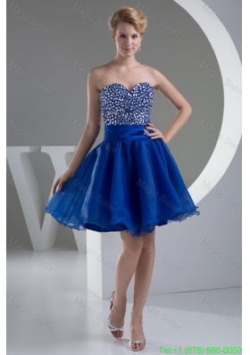 Sweetheart A-line Mini-length Royal Blue Cocktail Dress with Beaded Bodice