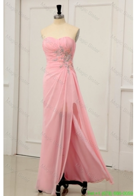Sweetheart Chiffon Empire Rhinestone and Beading Prom Dress with High Silt