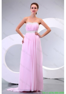 Sweetheart Empire Chiffon Sweep Train Baby Pink Prom Dress with Beading