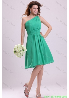 Turquoise Bridesmaide Dress with Bowknot and Ruching A-line One Shoulder