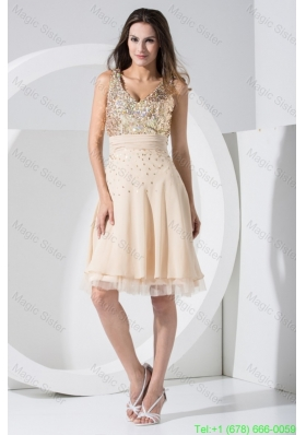 V-neck Knee-length  Cocktail Dresses with Sequins and Ruched Sash