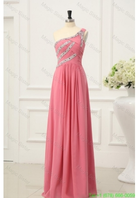 Watermelon Red Bridesmaide Dress with Beaded One Shoulder