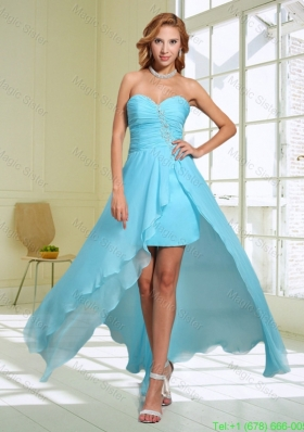 2014 Aqua Blue Modest Column Sweetheart Bridesmaide Dress with Beading and Ruching