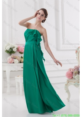 2014 Strapless Ruching Sea Green Floor-length Taffeta Bridesmaide Dress