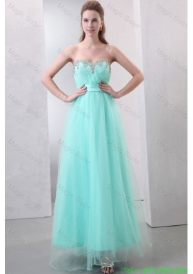 A-line Aqua Blue Sweetheart Beading and Ruching Organza Prom Dress