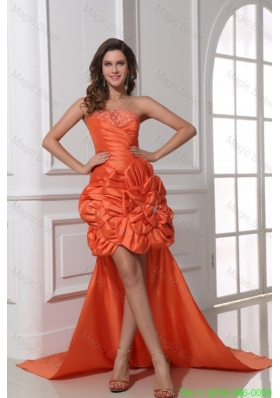 A-line Orange Red Strapless Ruching and Beading High-low Prom Dress