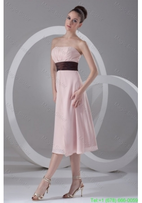 Affordable Empire Strapless Tea-length Chiffon Pink Belt Bridesmaide Dress