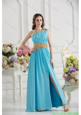Aqua Blue Empire One Shoulder Floor-length High Slit Bridesmaide Dress