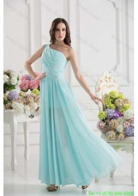 Aqua Blue One Shoulder Ruching Ankle-length Bridesmaide Dress