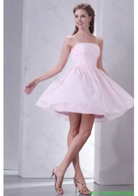 Baby Pink A-line Strapless Prom Dress with Mini-length