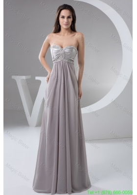 Beading and Ruches Accent Floor-length Gray Prom Evening Dress