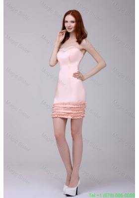 Column Baby Pink Strapless Appliques Mini-length Prom Dress
