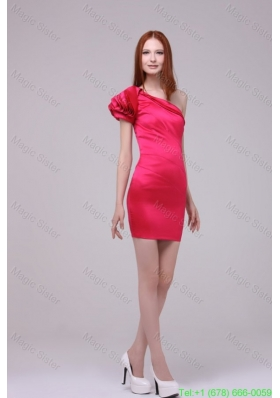 Column One Shoulder Short Sleeves Hot Pink Prom Dress