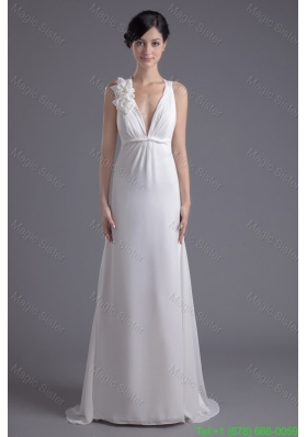 Column White Chiffon V-neck Bridesmaide Dress with Hand Made Flowers