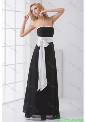 Elegant Empire Strapless Floor-length Black Bridesmaide Dress with Sash