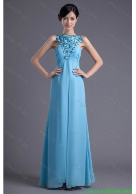 Empire Halter Top Floor-length Beading Aqua blue Bridesmaide Dress