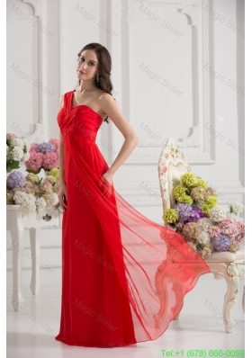 Empire One Shoulder Chiffon Ruching Floor-length Bridesmaide Dress in Red