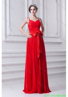 Empire Red Straps Chiffon PBridesmaide Dress with Beading and Bowknot
