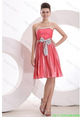 Empire Sashes Pleats Strapless Watermelon Red Prom Dress