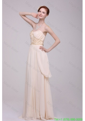 Empire Strapless Champagne Ruching Chiffon Floor-length Bridesmaide Dress