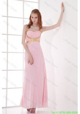 Empire Straps Baby Pink Bridesmaide Dress with Beading and Ruchings Chiffon