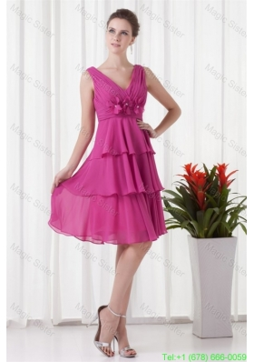 Empire V Neck Knee Length Fuchsia Chiffon Ruching Prom Dress