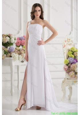 Empire White One Shoulder High Slit Brush Train Chiffon Bridesmaide Dress