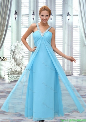 Graceful Aqua Blue V-Neck Empire Sleeveless Bridesmaide Dress with Beading