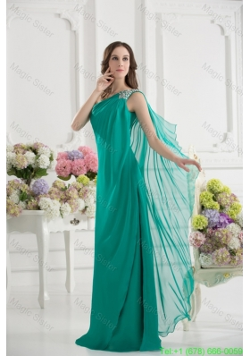 Green Empire One Shoulder Beading Watteau Train Ruching Bridesmaide Dress