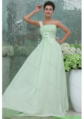 Light Blue Empire One Shoulder Appliques and Ruching Bridesmaide Dress
