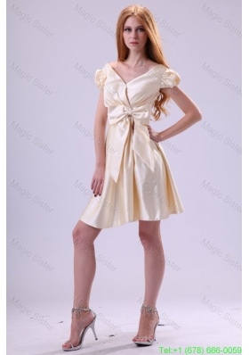 Light Yellow V Neck Cap Sleeves Bow Ruching Prom Dress
