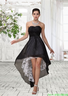 Nice Sweetheart Chiffon and Lace Empire Ruching Black Bridesmaide Dress