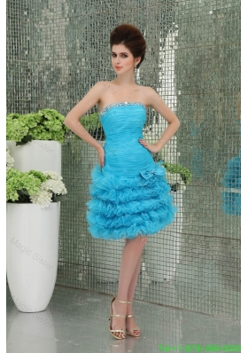 Organza Baby Bule Bridesmaide Dress with Ruffled Layers Bowknot Strapless A-line
