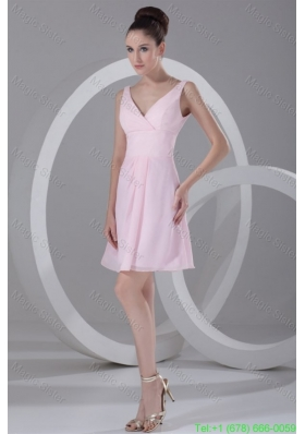 Pink A-line V-neck Mini-length Ruching Chiffon Bridesmaide Dress