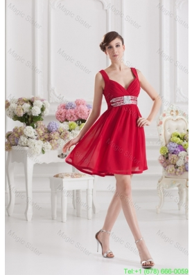 Red Empire Straps Bridesmaide Dress with Ribbons and Beading