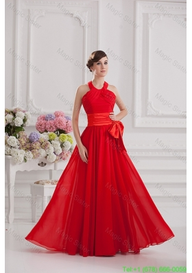 Ruching and Bowknot Halter Top Empire Bridesmaide Dress in Red