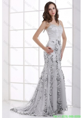 Silver Column Straps Beading and Appliques Prom Dress for Spring
