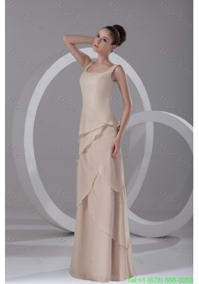 Simple Empire Champagne Square Chiffon Ruffles Bridesmaide Dress with Side Zippe