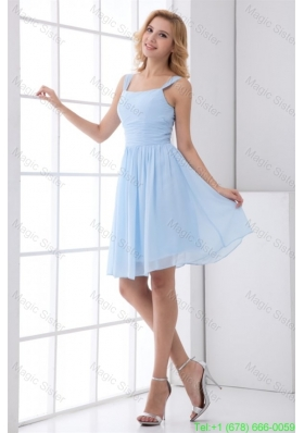 Simple Empire Straps Knee-length Chiffon Baby Blue Bridesmaide Bridesmaide Dress