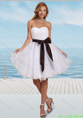Simple White Organza Sweetheart Bridesmaide Dress with Ruching and Sash