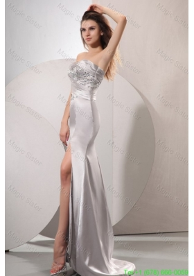 Silver Sweetheart Beaded Prom Dress with High Slit Brush Train