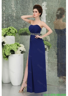 Spaghetti Straps Bridesmaide Dress with High Slit Ruchings Empire Blue Chiffon Belt