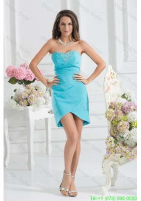 Sweetheart Mini-length Beading Chiffon Aqua Blue Ruching Bridesmaide Dress